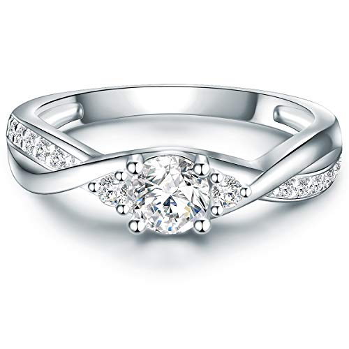 Tresor 1934 Damen-Ring Verlobungsring Sterling Silber 925 mit Zirkonia in Brillant-Schliff - Wickelring Ehering in Solitär-Ring Look