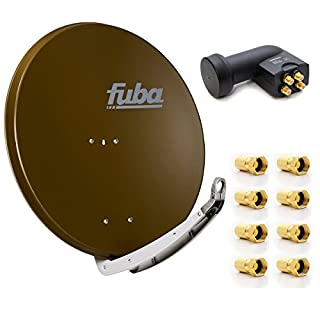 Fuba DAA 850 B Digital SAT Schüssel Braun 85x85cm FullHD 4K TV mit PremiumX Quad LNB 0,1 dB Quattro Switch zum Direktanschluss von 4 Teilnehmern inkl. 8x F-Stecker mit Dichtring