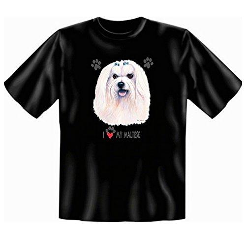Malteser T-Shirt Hunde Motiv Fb schwarz Schwarz