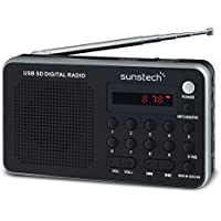 Sunstech RPDS32SL - Radio portátil digital (AM/FM PLL, altavoz, USB, SD, MMC, 1.5 W RMS) color plata