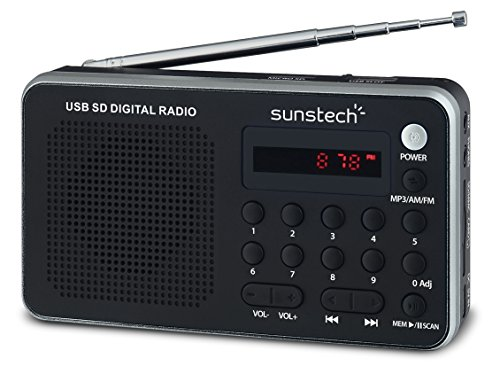Sunstech RPDS32SL - Radio portátil digital (AM/FM PLL, altavoz, USB, SD, MMC,...
