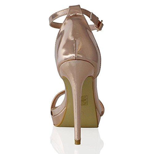 Essex Glam Scarpa Donna Peep Toe Tacco Alto Allacciatura Caviglia Oro metallizzato