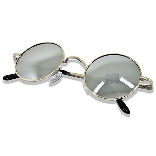 WHCREAT Uralt Retro Unisex Rund Polarisierte Sonnenbrille Federscharnier Metall Rahmen UV 400 Schutz für Männer Frauen - Silber Rahmen Silber Linse