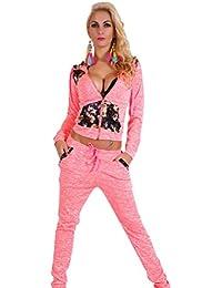 Baymate Mujer Floral empalme Chándal Zip Sudadera Deportivos Chaqueta y Pantalones 2Pcs Conjuntos