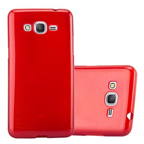 Cadorabo Custodia per Samsung Galaxy Grand Prime in Rosso Cremisi - Morbida Cover Protettiva Sottile di Silicone TPU con Bordo Protezione - Ultra Slim Case Antiurto Gel Back Bumper Guscio