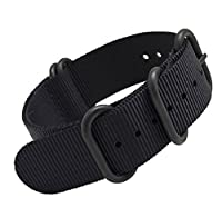 MetaStrap 20mm Nylon Strap ZULU Watch Band (Black)