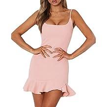 Vestidos cortos mujer, Amlaiworld Vestidos de mujer verano Mini vestido sin mangas de hombro Sexy mujeres Vestido irregular con volantes de mujer vestidos de fiesta cortos elegantes
