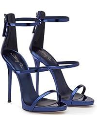 MSFS Zapatos de mujer Cuero Tobillo Correas Roma Vestir Tacón de aguja Fiest Club Sandalias Tamaño 35 a 44, blue...