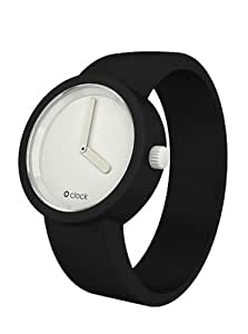 O Clock Unisex Classic White Face Watch Ocw02-M (Medium) with Black Hypoallergenic Silicon Rubber Watch Strap