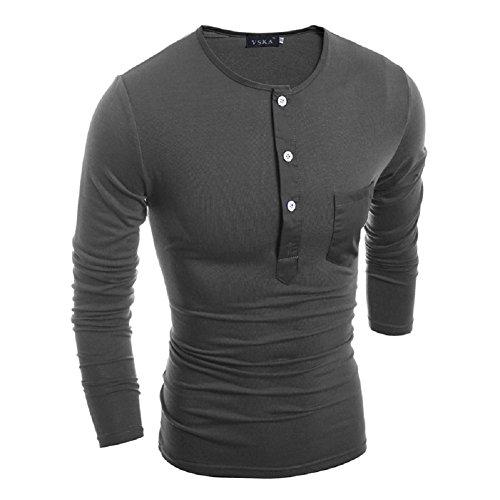 BOMOVO Herren Langarm Knopf Langarm Shirt Slim Fit Grau