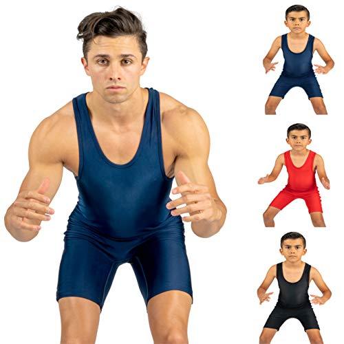 4-Time All American Wrestling Singlet für Männer und Jugendliche, Powerlifting und Übungsausrüstung, MMA Ringausrüstung, Schwarz, Marineblau, Rot (Größen: 4XS-5XL) XS Navy