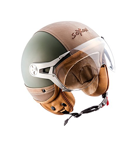 SOXON SP-325-URBAN Green · Roller-Helm Scooter-Helm Jet-Helm Chopper Biker Retro Bobber Pilot Cruiser Mofa Vintage Motorrad-Helm Vespa-Helm...