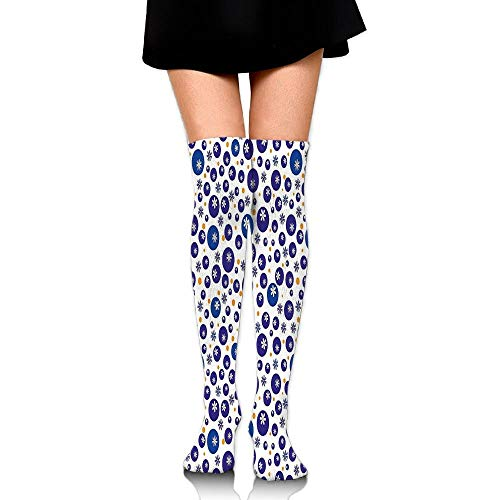 Juzijiang Blue And Orange Polka Dots With Little Spring Flowers Chamomiles And Daisies Women's Fashion Over The Knee High Socks (65cm) - Little Lady Flower Girl Dresses