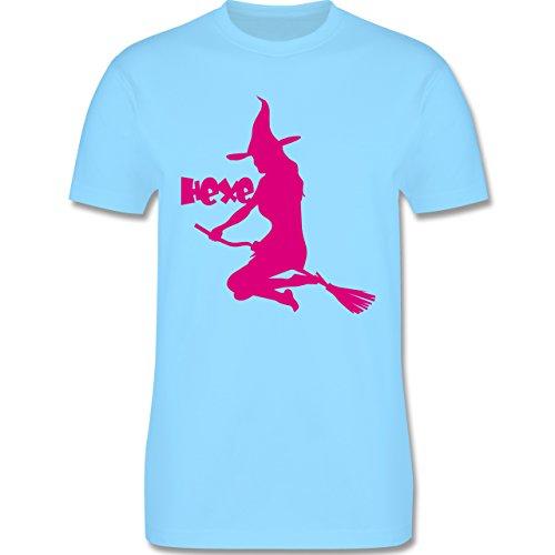 Halloween - Hexe auf dem Besen - Herren Premium T-Shirt Hellblau