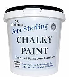Xl 3kg. Ann Sterling Kreidefarbe Shabby Chic Farbe: Chalky White Weiß 3kg. Lack Chalky Paint