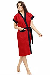 Be You Fashion Double Shaded Red-Black Cotton Bathrobe