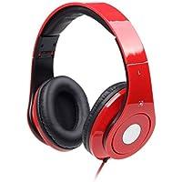Rosso Cuffie stereo con Microfono / Pieghevole Cuffie e Microfono / Per PC, Computer, Notebook, Tablet, iPhone, Samsung / iCHOOSE