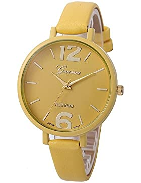 winwintom Candy Farbe Faux Leder Analog Quarz Armbanduhr gelb