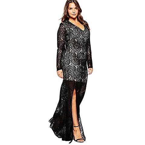 Femmes de grande taille mode élégante robe en dentelle robe de soirée longue , black , 8xl