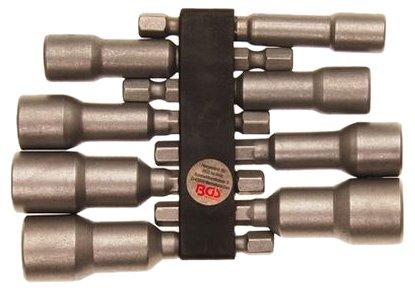 BGS 2758 Jeu de douilles à choc six-pans, Argent, 6-13mm, Set de 8 Pièces