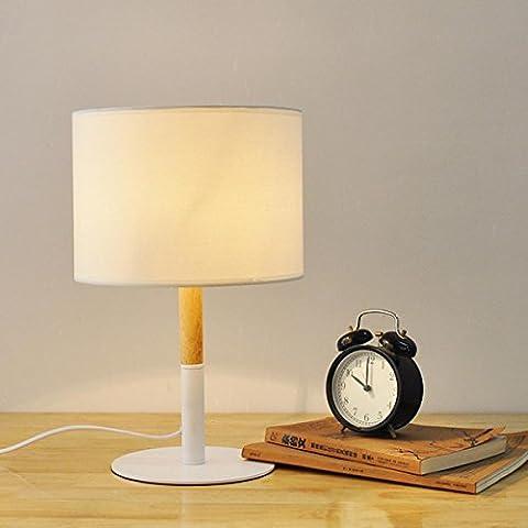 SHDT Moderne einfache Holz Tischlampe mit runden Stoff Augenfreundliche Leselampe Schreibtisch Lampe Nachttischlampe , Weiß , 400