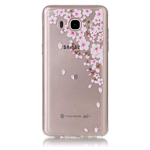 Coque Galaxy J5 2016,Transparent Housse Etui Couverture pour Samsung Galaxy J5 2016,Ekakashop Ultra Mince Slim-fit imprimée Coque de Protection en Hybrid Crystal Clear PC Plastique Silicone Arrière Co Fleur de Pêche