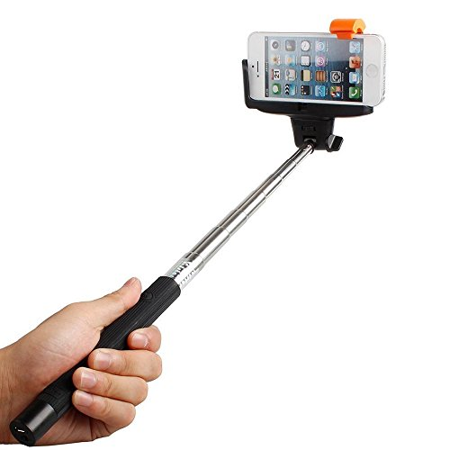 Ecandy 3In 1Handy Selbstporträt Wireless Bluetooth Monopod Ausziehbar Selfie Zahnstocher mit eine Funktion Fernauslöser mit dem sostenedor der Handschlag verstellbar für iPhone 6, iPhone 5, Samsung Galaxy S5, Android Schwarz (Para Camaras Iphone)