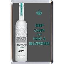 KEEP CALM AND HAVE A BELVEDERE con imán para la nevera con una de la imagen Belverdere una botella de vodka como borracho de 007 James Bond en la película Spectre. Un original cumpleaños o regalos navideños preferidos regalo de la Keep Calm and Carry On Series.