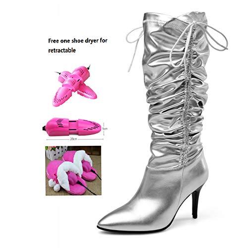 BWCX Damen Hohe Stiefel, Rindsleder und Mikrofaser, inkl. ausziehbarem Schuhtrockner 48 Silber