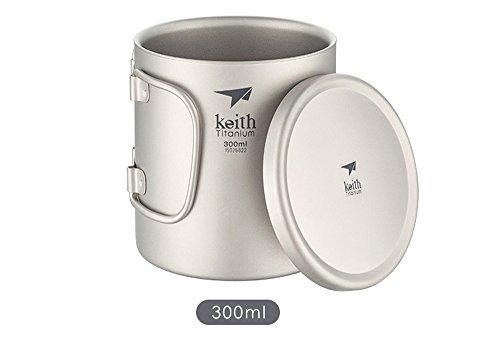 K&E Online Shop Titanium Tasse Klappgriff Tasse Camping Tasse Mit Deckel Im Freien Zuhause Büro Kaffeetasse(Ti3352,300ml,Mit Kunststoffdeckel)