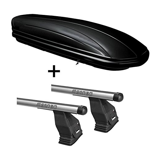 Dachbox VDPMAA460 schwarz glänzend 460 Ltr abschließbar + Dachträger Menabo Tema für Ford Focus C-Max 2003-2010 Aluminium (Dachträger 50x70)