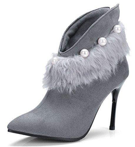 SHOWHOW Damen Perle Flauschig Spitz Pumps Winter Knöchelhohe Stiefel Grau 39 EU