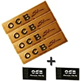 SCORIA OCB King Size Rolling Paper Gold Pack Of 4 Booklets + 2 Roach Pad (128 Leaves)