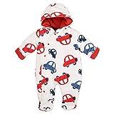 PitterPatter Baby Schneeanzug Overall Jungen weiß rot | Motiv: Autos | Baby Winteranzug mit Kapuze für Neugeborene & Kleinkinder | Größe: 0-3 Monate (56/62)