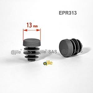 ajile - 12 pièces - Embout à lamelles rond pour tubes de diamètre 13 mm - GRIS - EPR313-M