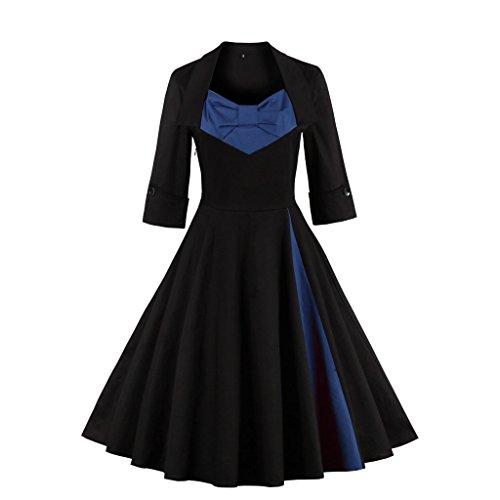 Dissa M1323 femme Rockabilly Robe de Soiré cocktail Robe de Bal Retro Bleu