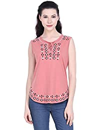 7c0fdb10e92e3 MissGudi Bronze Sleeveless Embroidered Cotton Knitted Top