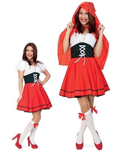 KarnevalsTeufel Kostüm Rotkäppchen Kleid mit Cape Red Riding Hood Märchenkostüm ()