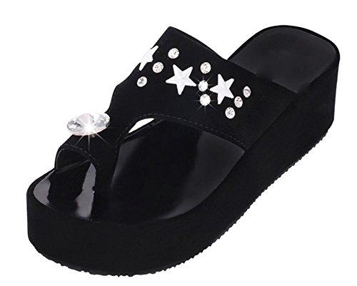 SOMMER Zehe Muffin unten rutschfeste Sandalen weibliche Sandalen Strass Black