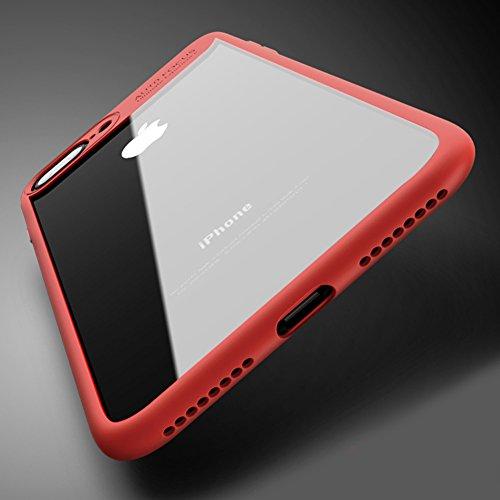 Cover Apple iPhone 8 Plus (5.5), MSVII® Trasparente PC Posteriore Back Silicone Bumper Custodia Cover Case e Pellicola Protettiva Per Apple iPhone 8 Plus (5.5) - Blu JY40020 Rosso
