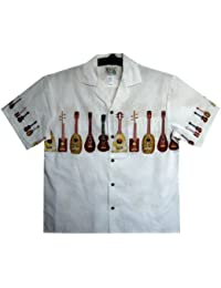 KY's | Original Hawaiian Shirt | For Men | S - 6XL | Short-Sleeve | Front-Pocket | Hawaiian-Print | Ukulele | blanc