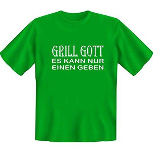 DAS Shirt für BBQ-Fans und Grillprofis: Grill Gott - es kann nur einen geben T-Shirt, Farbe hellgrün, Hellgrün