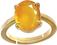 Yellow Sapphire/Pukhraj 3.9cts or 4.25ratti Stone Panchdhatu Adjustable Ring for Women by GEMS HUB