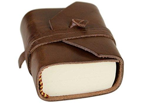 LEATHERKIND Firenze Classico Leder Notizbuch Schokobraun, Mini Blanko Seiten - Handgefertigt in Italien