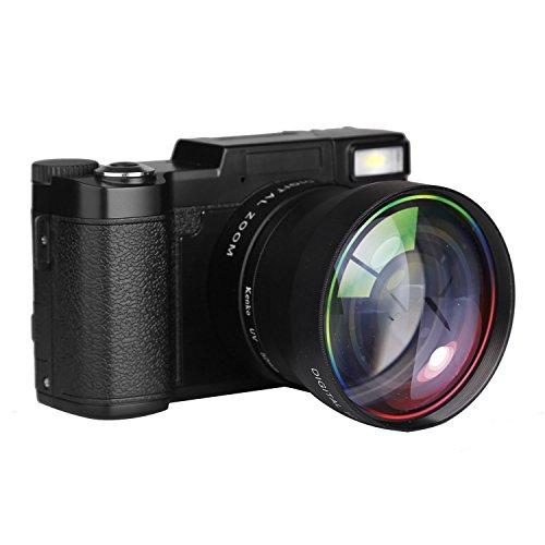 PowerLead Videocamera Fotocamera Digitale Camcorder Vlogging Full HD 1080P da 24.0MP con schermo da 3 pollici rotante fino a 180° e flash retrattile a scomparsa