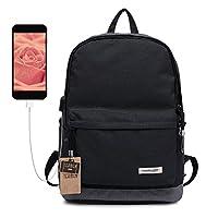 Casual Daypacks TEAMEN School bag Waterproof Laptop backpack with USB charging port (black)