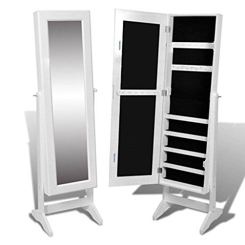 Vidaxl armadietto portagioielli autoportante con specchio bianco