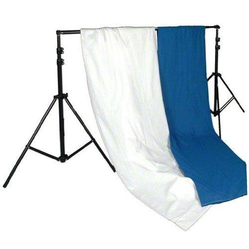 Walimex Hintergrundsystem-Set 120-307 cm (2x Stoffhintergründe 2,85 x 6 m, 1 Teleskopstange, 2 Stative und inkl. Transporttasche) blau und weiß