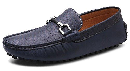 Odema hommes Chaussures de course en cuir PU Slip-on Mocassins Flat Loafer bleu foncé