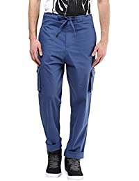 Hypernation Blue Color Cotton Casual Cargo Pant For Men